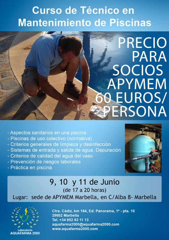 Curso para tecnico en mantenimiento de piscinas con Aquafarma